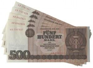 Niemcy, DDR, zestaw 500 marek 1985 (5 szt.)