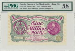 Danzig, 1 milion mark 08 August 1923 - no. 5 digit series with ❊ rotated - PMG 58