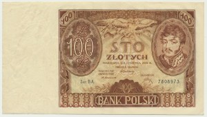 100 złotych 1932 - Ser.BA. - bez dodatkowych znaków wodnych
