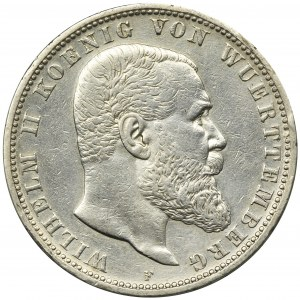 Germany, Württemberg, Wilhelm II, 5 mark Stuttgart 1900 F