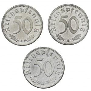 Zestaw, Niemcy, 50 Fenigów (3 szt.)