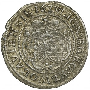Śląsk, Księstwo Legnicko-Brzesko-Wołowskie, Luiza z Anhaltu, 6 Krajcarów Brzeg 1673 CB