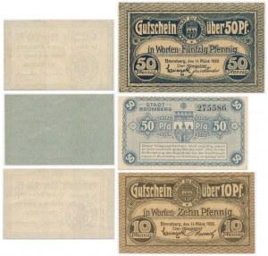 Bydgoszcz, zestaw bonów 10 - 50 fenigów 1916-20 (6 szt.)