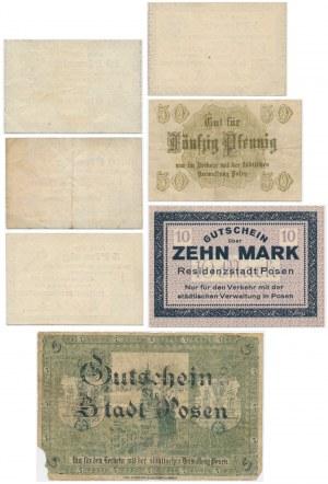 Poznań, zestaw 1-50 fenigów i 5-10 marek 1917-18 (7 szt.)
