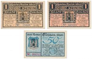 Cieszyn, zestaw asygnat z roku 1919 (3 szt.)