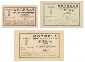 Toruń, zestaw 50 groszy oraz 1 i 5 złoty 1939 (3 szt.)
