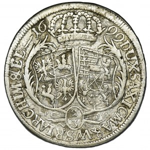 August II Mocny, 2/3 Talara (gulden) Lipsk 1699 EPH - RZADKIE