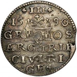 Zygmunt III Waza, Trojak Ryga 1590 - RZADKI, duża głowa