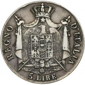 Włochy, Królestwo Włoch, Napoleon I, 5 Lirów Mediolan 1808 M
