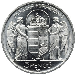 Węgry, Miklos Horthy, 5 Pengö Budapeszt 1943 BP
