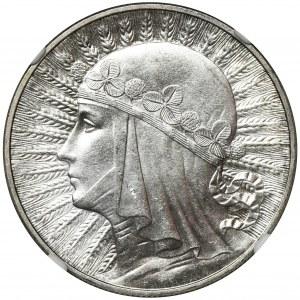 Głowa Kobiety, 10 złotych 1932 Warszawa - NGC MS63+ WYŚMIENITA