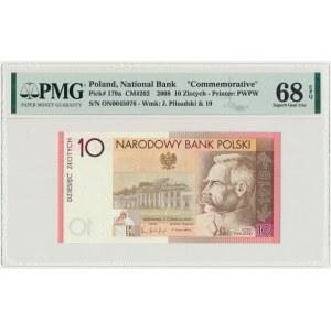 10 złotych 2008 - 90. Rocznica Odzyskania Niepodległości - PMG 68 EPQ