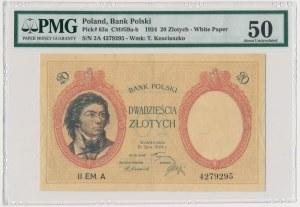 20 złotych 1924 II EM.A - PMG 50 - niespotykanej urody egzemplarz