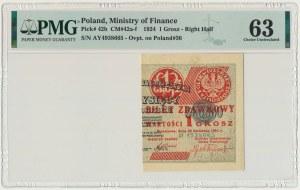 1 grosz 1924 - AY - prawa połowa - PMG 63