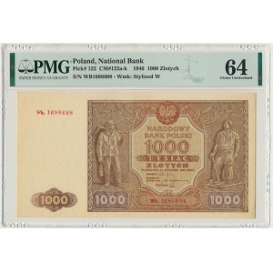 1.000 złotych 1946 - Wb z kropką - PMG 64 - rzadka seria zastępcza