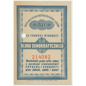 Kwit składki na fundusz wyborczy Bloku Demokratycznego (1946-1947)