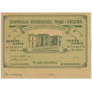 Warszawa, Komisja Rozdziału Mąki i Chleba, kartka żywnościowa na macę 1916 (zielona)