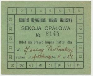 Warszawa, Sekcja Opałowa, bilet na kupno nafty
