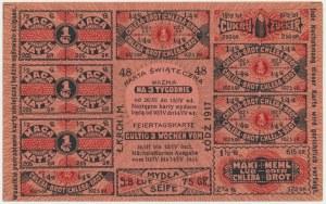 Łódź, kartka żywnościowa na macę, chleb i cukier 1917