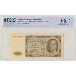 10 złotych 1948 - AW - PCGS 66 EPQ