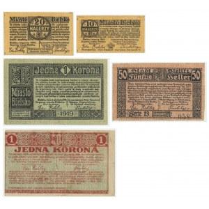 Bielsko, zestaw 5 sztuk emisje 1919 i 1920