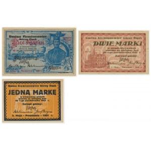 Siemianowice, zestaw bonów plebiscytowych z roku 1923 (3szt.)