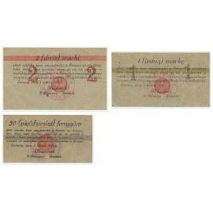 Schwetz (Świecie) - zestaw 50 fenigów, 1 i 2 marki - stemple niemieckie (3szt.)
