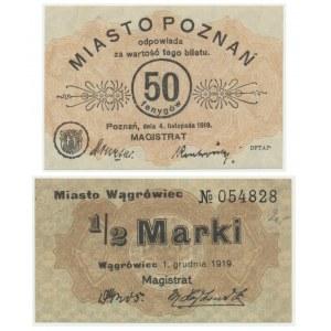 Wągrowiec i Poznań, 50 fenigów i 1/2 marki (2szt.)