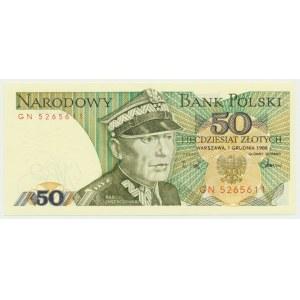 50 złotych 1988 - GN - Destrukt - przesunięcie druku
