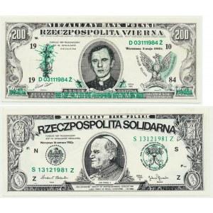 Solidarność, zestaw 200 złotych 1984 KŚ. J.Popiełuszko i 200 złotych 1983 Jan Paweł II (2 szt.)