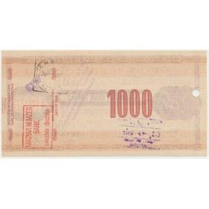 Narodowy Bank Polski, Czek podróżniczy 1.000 złotych 1989