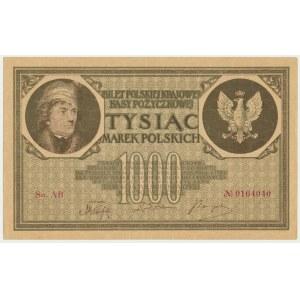 1.000 marek 1919 - Ser. AB - rzadsza odmiana - PIĘKNY