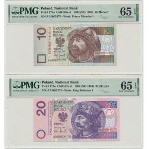 Zestaw 10 i 20 złotych 1994 - AA 0003175 - niskie identyczne numery - PMG 65 EPQ (2 szt.)