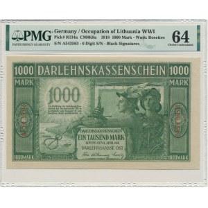 Kowno, 1.000 mark 1918 - A - 6 digit serial - PMG 64