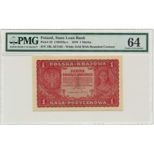1 marka 1919 - I Serja BL - PMG 64