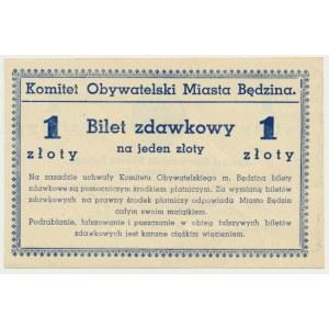 Będzin, bilet zdawkowy na 1 złoty 1939