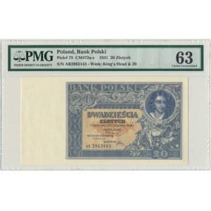 20 złotych 1931 - AB - PMG 63 - rzadka odmiana