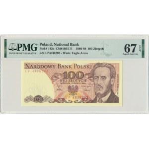 100 złotych 1986 - LP - PMG 67 EPQ - pierwsza seria rocznika
