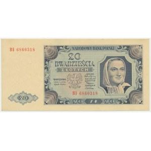 20 złotych 1948 - BI - rzadka odmiana