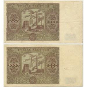 Zestaw 1.000 złotych 1947 - E - (2 szt.)