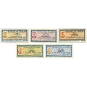 Zestaw marynarskich bonów towarowych Baltona 1 - 20 centów 1973 (5 szt.)