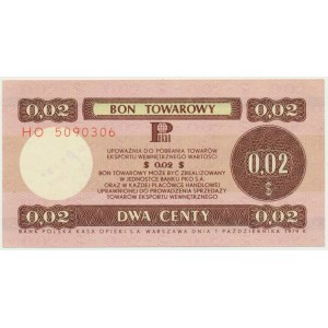 Pewex, 2 centy 1979 - HO - DUŻY -