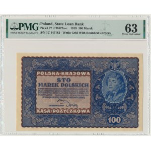 100 marek 1919 - I Serja C - PMG 63 - RZADKA