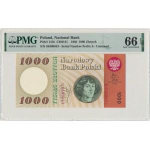 1.000 złotych 1965 - S - PMG 66 EPQ