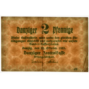 Danzig, 2 pfennig 1923 October -