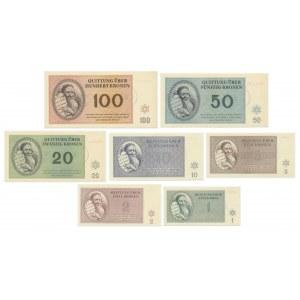 Getto Terezin,, zestaw 1 - 100 koron (7 szt.)