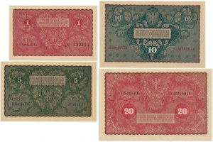Zestaw, marki wiedeńskie 1 - 20 marek 1919 (4 szt.)