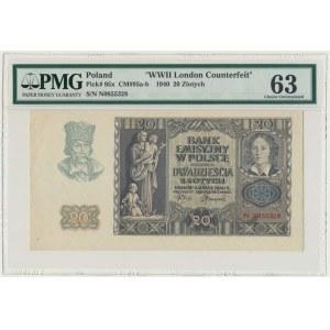 20 złotych 1940 - N - London Counterfeit - PMG 63