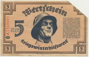 Pomoc Zimowa Ludności Niemieckiej, bon na 5 marek 1940