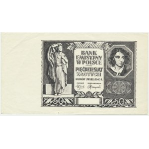 50 złotych 1940 - czarnodruk na papierze PWPW